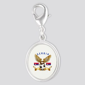 Serbia Football Design Silver Oval Charm