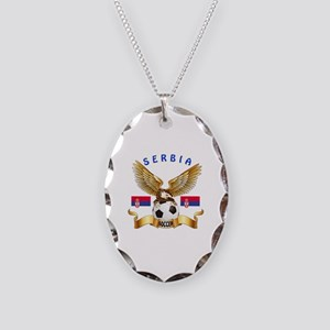 Serbia Football Design Necklace Oval Charm