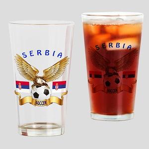 Serbia Football Design Drinking Glass