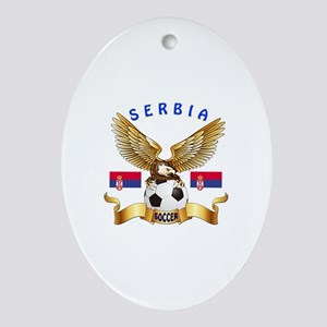 Serbia Football Design Ornament (Oval)