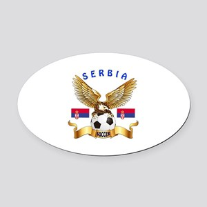 Serbia Football Design Oval Car Magnet