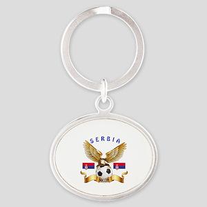 Serbia Football Design Oval Keychain
