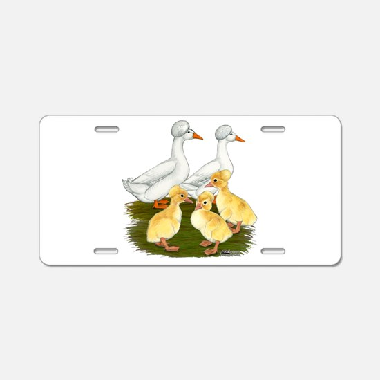 Crested Duck Family Aluminum License Plate