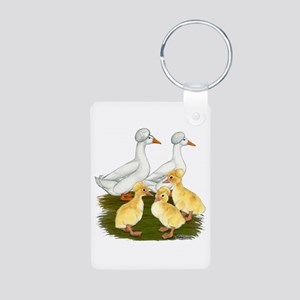 Crested Duck Family Aluminum Photo Keychain