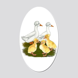 Crested Duck Family 20x12 Oval Wall Decal
