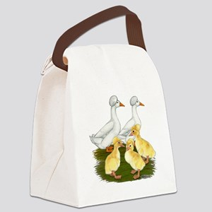 Crested Duck Family Canvas Lunch Bag