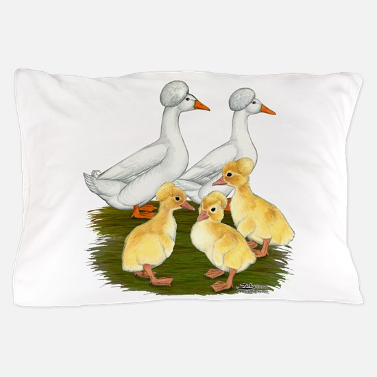 Crested Duck Family Pillow Case