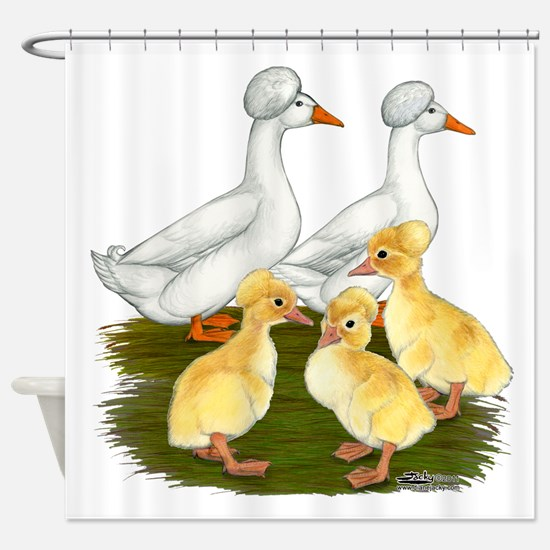 Crested Duck Family Shower Curtain