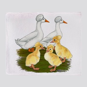 Crested Duck Family Throw Blanket