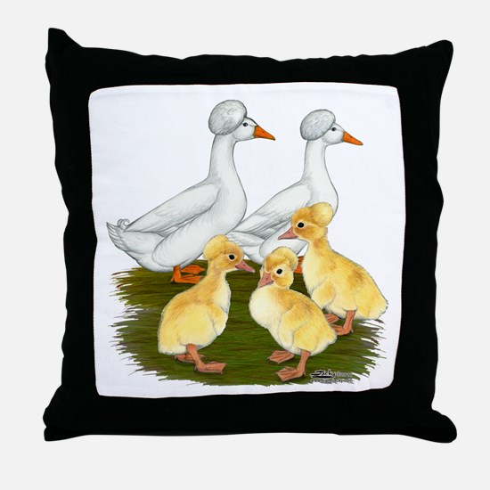 Crested Duck Family Throw Pillow