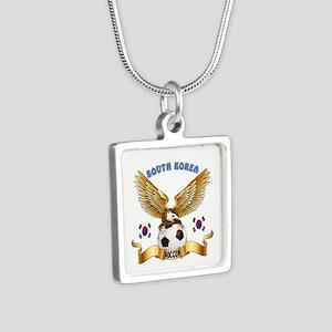 South Korea Football Design Silver Square Necklace