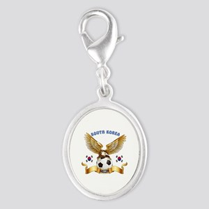 South Korea Football Design Silver Oval Charm