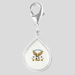 South Korea Football Design Silver Teardrop Charm