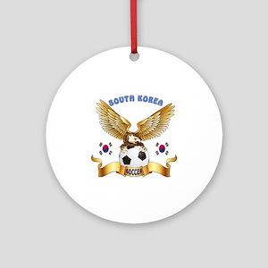 South Korea Football Design Ornament (Round)