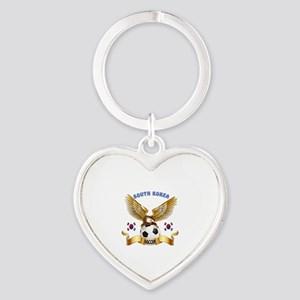 South Korea Football Design Heart Keychain