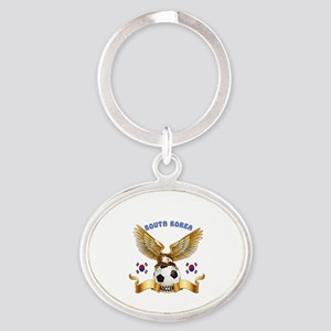 South Korea Football Design Oval Keychain