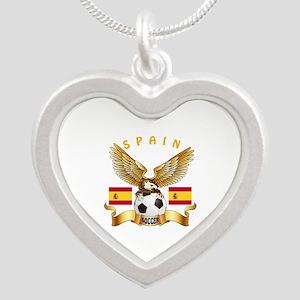 Spain Football Design Silver Heart Necklace