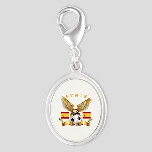 Spain Football Design Silver Oval Charm