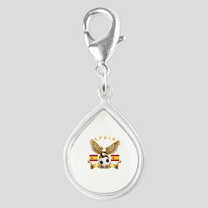 Spain Football Design Silver Teardrop Charm