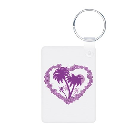 Hawaiian Palm Tree Heart Aluminum Photo Keychain