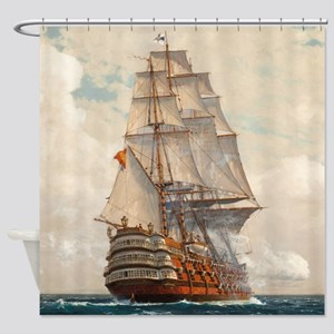 Ship at Sea Shower Curtain