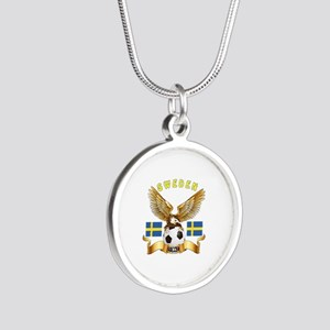 Sweden Football Design Silver Round Necklace