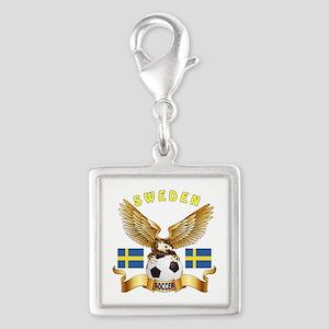 Sweden Football Design Silver Square Charm