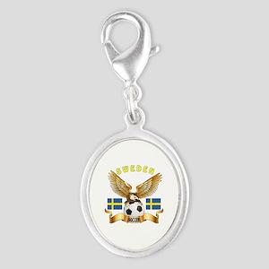 Sweden Football Design Silver Oval Charm