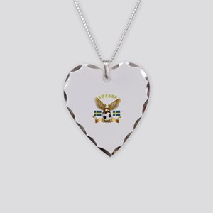 Sweden Football Design Necklace Heart Charm
