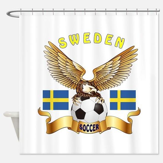 Sweden Football Design Shower Curtain