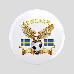 "Sweden Football Design 3.5"" Button"