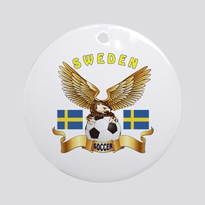 Sweden Football Design Ornament (Round)