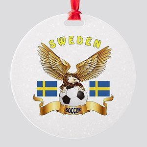 Sweden Football Design Round Ornament