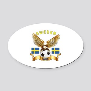 Sweden Football Design Oval Car Magnet