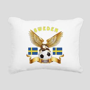 Sweden Football Design Rectangular Canvas Pillow