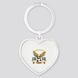 Sweden Football Design Heart Keychain