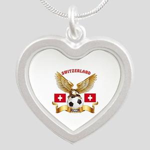 Switzerland Football Design Silver Heart Necklace