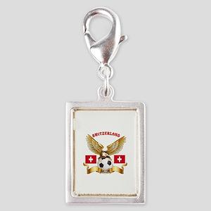 Switzerland Football Design Silver Portrait Charm