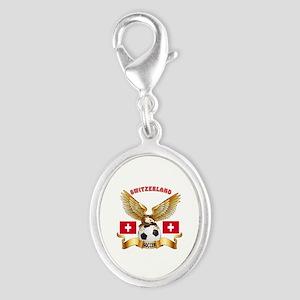 Switzerland Football Design Silver Oval Charm