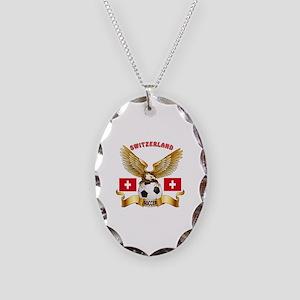 Switzerland Football Design Necklace Oval Charm