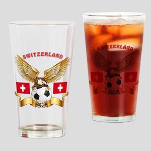 Switzerland Football Design Drinking Glass