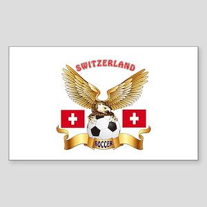 Switzerland Football Design Sticker (Rectangle)