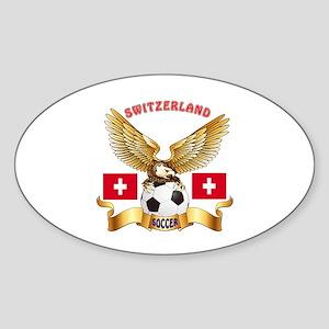 Switzerland Football Design Sticker (Oval)