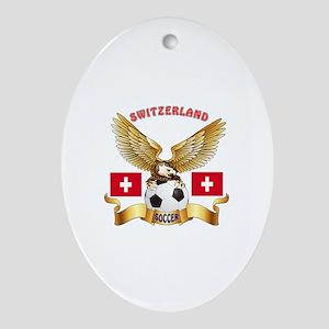Switzerland Football Design Ornament (Oval)