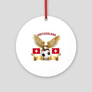 Switzerland Football Design Ornament (Round)