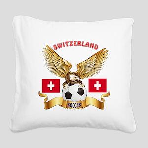 Switzerland Football Design Square Canvas Pillow