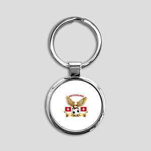 Switzerland Football Design Round Keychain