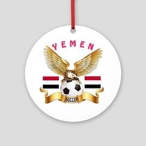 Yemen Football Design Ornament (Round)