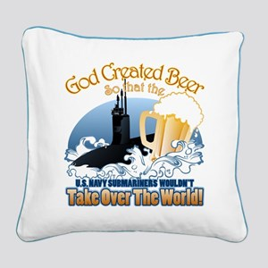 God Created Beer (Submariner) Square Canvas Pillow