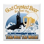 God Created Beer (Submariner) Tile Coaster